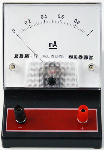 0-1 milliampere (mA) DC Ammeter, Analog Display - Online Science Mall