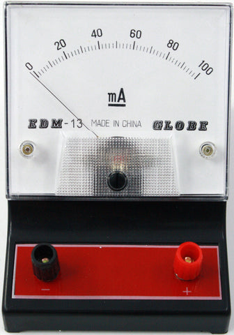 0-100 miliampere (mA) DC Ammeter, Analog Display - Online Science Mall
