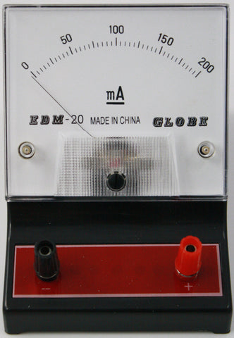 0-200 milliampere (mA) DC Ammeter, Analog Display - Online Science Mall