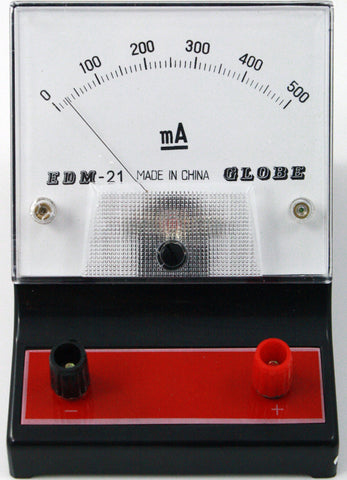 0-500 milliampere (mA) DC Ammeter, Analog Display - Online Science Mall