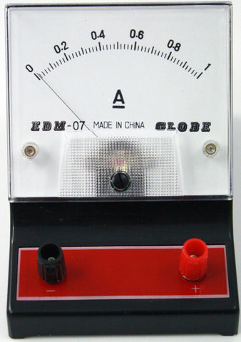 0-1 ampere (A) DC Ammeter, Analog Display - Online Science Mall