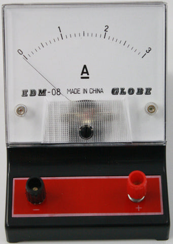 0-3 ampere (A) DC Ammeter, Analog Display - Online Science Mall