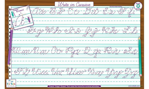 Cursive Hand Writing - Activity Placemat by Tot Talk