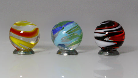 25mm Handmade Art Glass Flashlight Marbles Set of 3 w/Stands