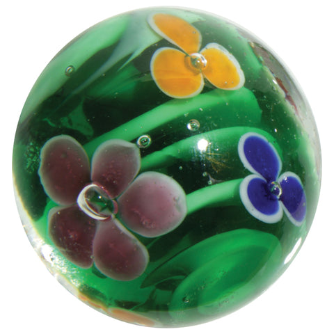"""Water Lily"" 16mm Handmade Art Glass Marble w Stand"