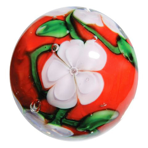 """Chrysanthemum"" 22mm Handmade Art Glass Marble w/Stand"