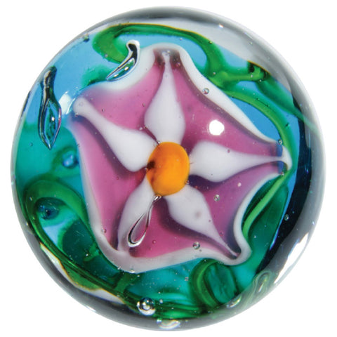 "16mm Handmade Art Glass ""Stargazer"" Marble w Stand - Online Science Mall"