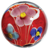 22mm Handmade Art Glass Dahlia Flower & Coral Reef Marbles, Pack of 2 w/Stand