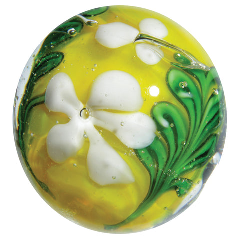"""Meadowsweet"" 22mm Handmade Art Glass Marble w Stand"
