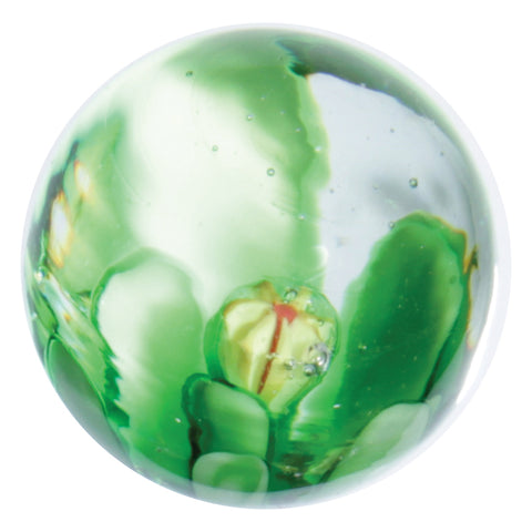 """Hollyhock"" 22mm Handmade Art Glass Marbles w Stands - Set of 4"