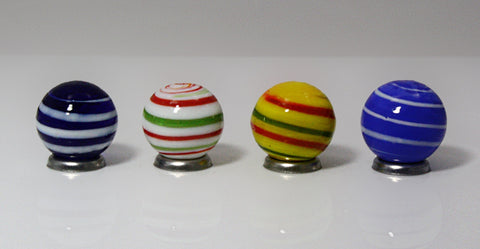 20mm Handmade Art Glass Stripes Marbles Set of 4 w/Stands
