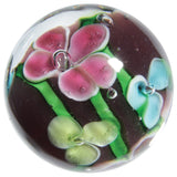22mm Handmade Art Glass Flower Marbles, Pack of 5 w/Stands - Set D Orchid, Petunia and more