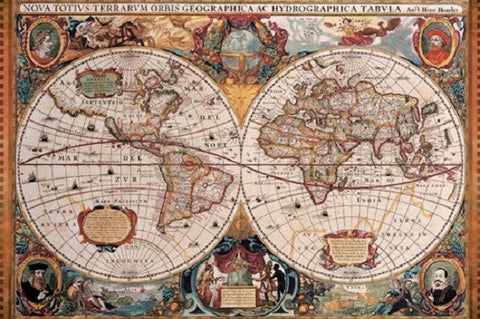 Orbis Geographica AC Hydrographica - Antique World Map Poster, 24x36