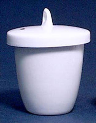 Crucible: Porcelain: 100mL: High Form w/Cover