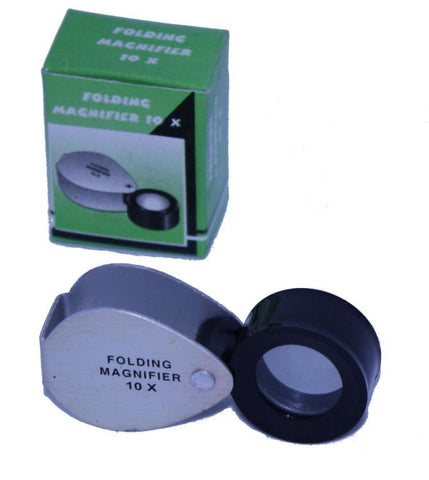 Pocket Magnifier Lens: 10X  Single Lens Metal Frame
