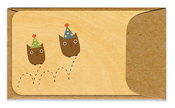 Bouncing Birthday Party Owls Wooden Gift Card