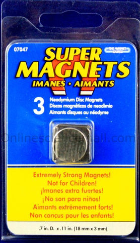Neodymium Magnets 18mm x 3mm - Pack of 3