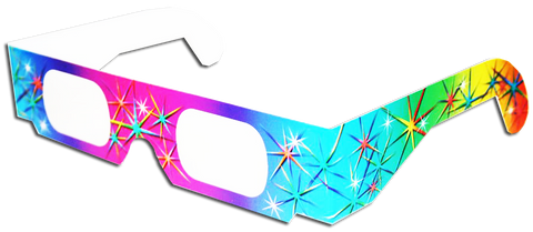 3D Fireworks Glasses w Rainbow Frames- Pattern Diffraction Lenses- Pack of 5