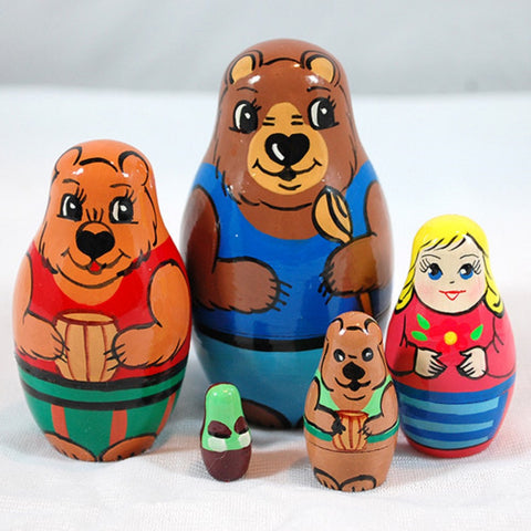 Goldilocks & 3 Bears Matryoshka Russian Nesting Dolls - Set of 5
