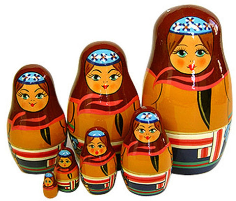 Peasant Girl Matryoshka Russian Nesting Dolls - Set of 7
