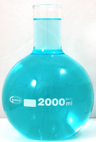 Borosil 2000ml Flat Bottom Glass Boiling Flask 2 Liter