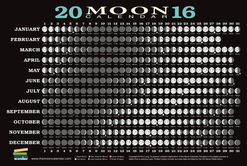 2016 Moon Calendar Card Phases and Eclipses
