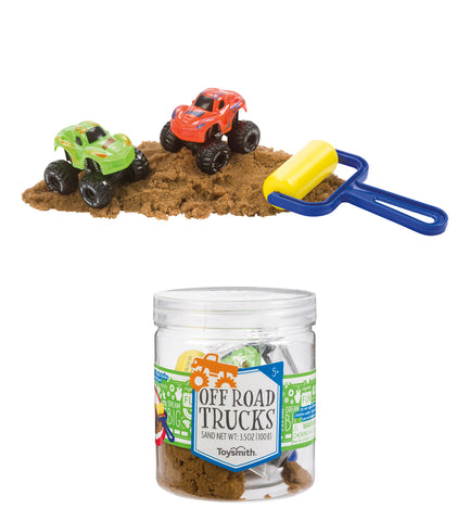 Off Road Trucks and Sand in Jar by Toysmith