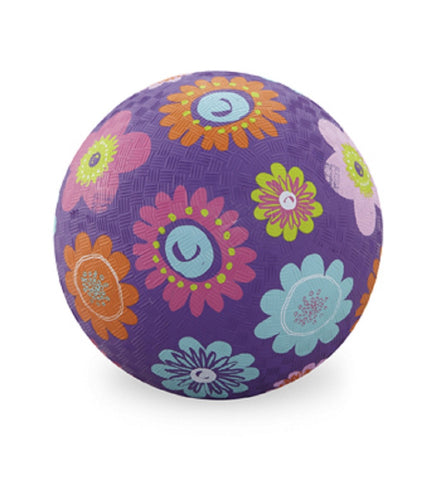 Flowers Rubber Playball Purple - 7 Inch Indoor Outdoor Ball