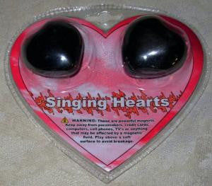 Heart Shaped Hematite Buzz Magnets Singing Hearts