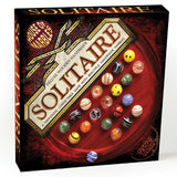 Deluxe Wooden Solitaire Coffee Table Game w Handmade Art Glass Marbles