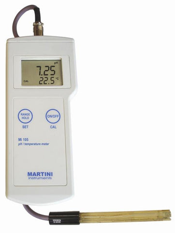 Mi105 Portable Pro pH/Temp Meter -2.00-16pH/-5-105C by Milwaukee