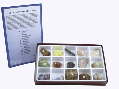 Colorful Mineral Rock Kit 15 Piece Collection w Info Card