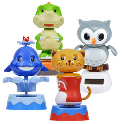 Solar Powered Dancing Animals Whale, Dinosaur, Cat & Owl - Set of 4