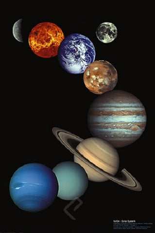 NASA's Planets of the Solar System Art Poster, 24x36