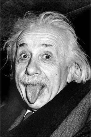 Albert Einstein's Classic Funny Face Poster, 24x36