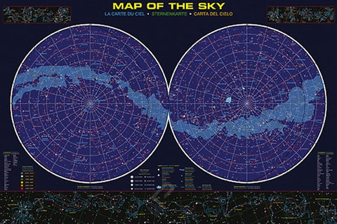 Constellations: A Map of the Night Sky - Astronomy Poster, 24x36