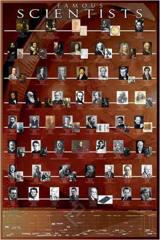 A Timeline of Famous Scientists Throughout the Ages - History Poster, 24x36