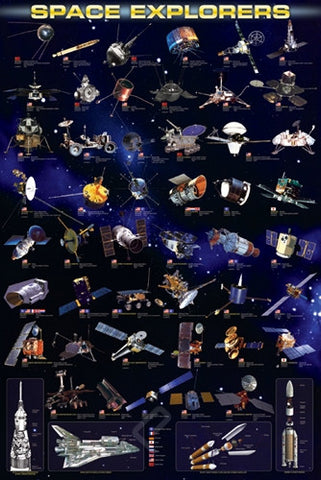 Man-Made Space Explorers From Around the World - Astronomy Poster, 24x36