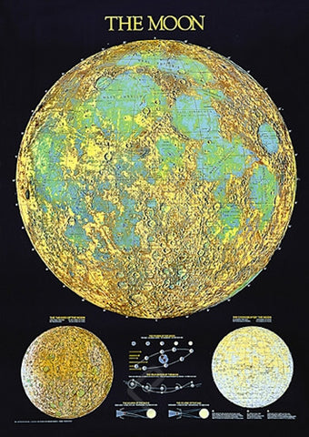 A Space Traveler's Color Map of the Moon - Astronomy Poster, 26x38