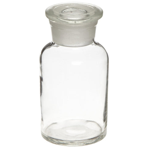 Glass Reagent Bottle: Apothecary Style Wide Mouth Bottle - 250ml (8 oz)