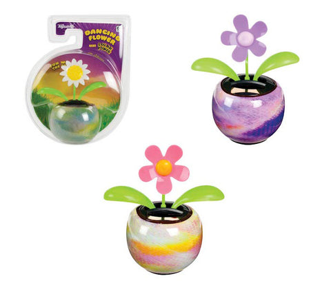 Pack of 3 Solar Powered Dancing Flowers with Adhesive Bases - Colors Vary