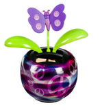 Solar Dancing Peace Symbol Butterfly Flower with Adhesive Base