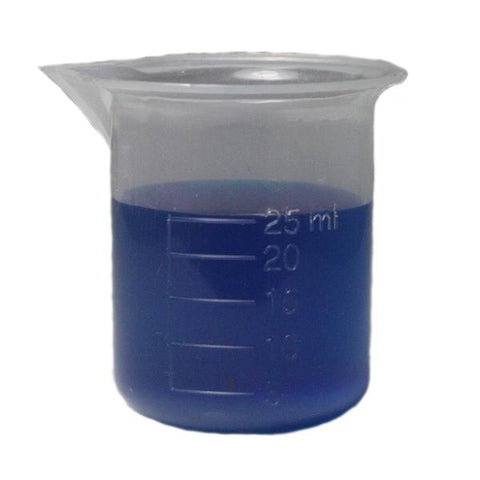 Polypropylene Plastic Beaker Graduated 25ml, New Style, Case of 12