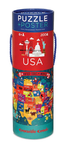 USA Poster Puzzle - Map of 50 United States 200 Piece Jigsaw Puzzle & Wall Poster
