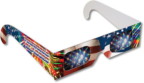 3D Fireworks Glasses Patriotic Design w Flag See Starbursts One Pair