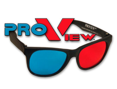 Proview 3D Glasses - Red/Blue-Cyan Lenses Plastic Frames Professional Anaglyph
