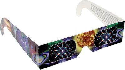 3D Fireworks Glasses w/ Sun and Planet Design See Starbursts at Every Point of Light-Pack of 5