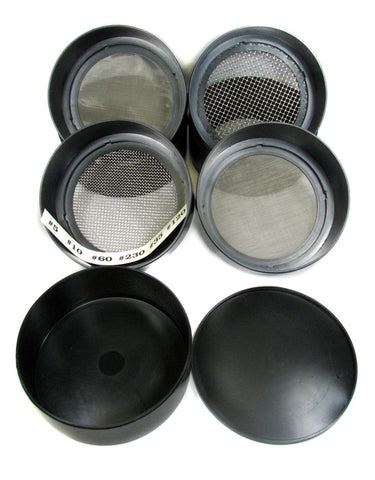 Set of 6 Stackable Metal Screened Sieves w/Collection Tray
