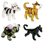 Looking Glass Torch Jungle Figurines Panther, 2 Different Tigers & Elephant (4-Pack)