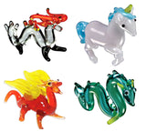 Looking Glass Torch - Figurines - SeaSerpent, 2 Dragons & Unicorn (4-Pack)